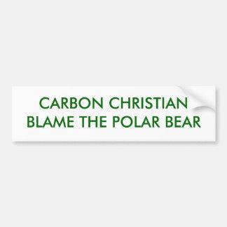 CARBON CHRISTIANBLAME THE POLAR BEAR CAR BUMPER STICKER