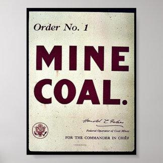 Carbón de la mina impresiones