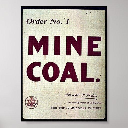 Carbón de la mina póster