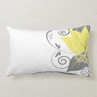 Carbón de leña amarillo floral abstracto de la red cojín lumbar
