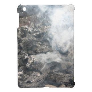 Carbón de leña ardiente que fuma en barbacoa