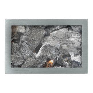 Carbón de leña ardiente que fuma hebillas cinturon rectangulares