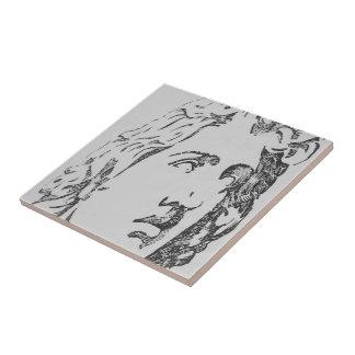 Carbón de leña clásico azulejo cuadrado pequeño