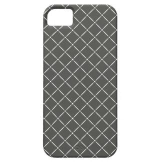 Carbón de leña con el modelo acolchado blanco funda para iPhone 5 barely there