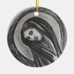 Carbón de leña del blanco gris de avenida Maria Ornamento De Navidad