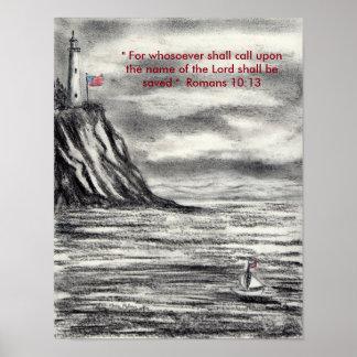 Carbón de leña del faro con el poste del cristiano póster