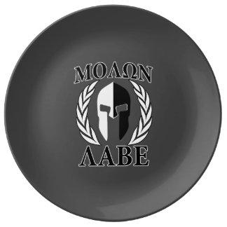 Carbón de leña espartano de los laureles del casco platos de cerámica