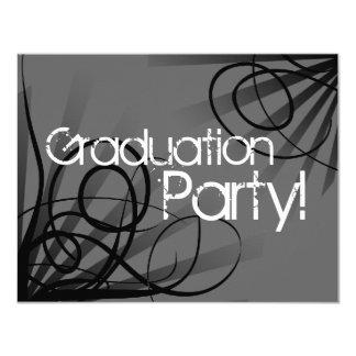 """Carbón de leña, fiesta de graduación blanco y invitación 4.25"""" x 5.5"""""""
