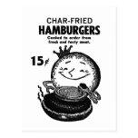 Carbón de leña-Fried' de las hamburguesas del vint Postales