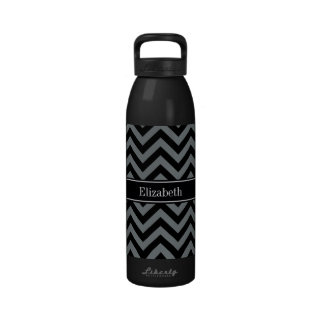 Carbón de leña, monograma conocido negro negro de botella de agua reutilizable
