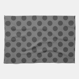 Carbón de leña y lunares gris oscuro toalla de cocina