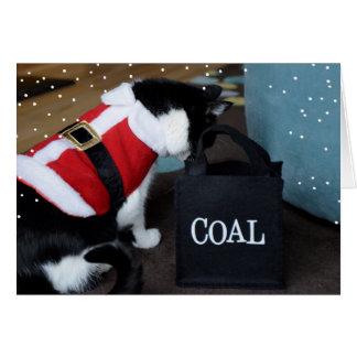 Carbón del gato del navidad tarjeta de felicitación