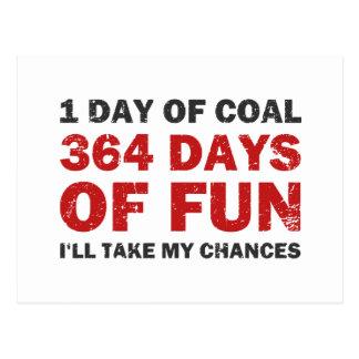 Carbón del navidad CONTRA 364 días de diversión Postales