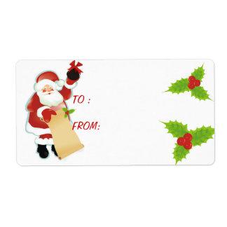 Carbón del navidad de Santa Etiqueta De Envío