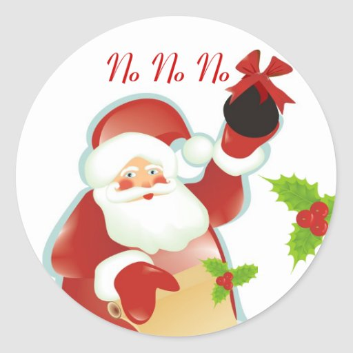 Carbón del navidad pegatina redonda