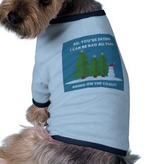 Carbón del navidad camisa de perro