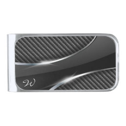 Carbon Fiber 3 Silver Finish Money Clip