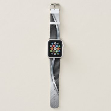 Beach Themed Carbon Fiber & Brushed Metal 4 Apple Watch Band