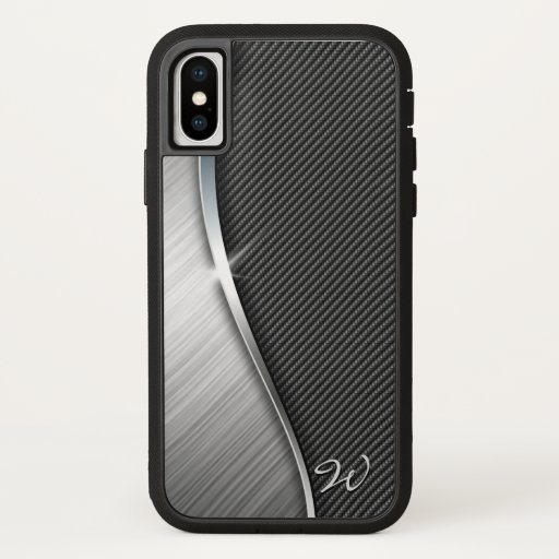 Carbon Fiber & Brushed Metal 4 iPhone X Case
