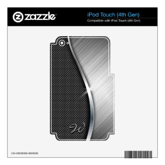 Carbon Fiber & Brushed Metal 4 MP3 Player Skins iPod Touch 4G Decal