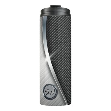 Aztec Themed Carbon Fiber & Brushed Metal 4 Thermal Tumbler