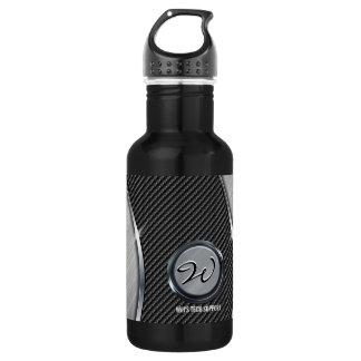 Carbon Fiber & Brushed Metal 4A 18oz Water Bottle