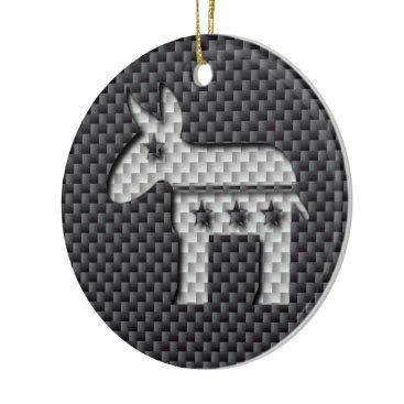 Beach Themed Carbon Fiber Donkey Democratic Party Symbol Ceramic Ornament