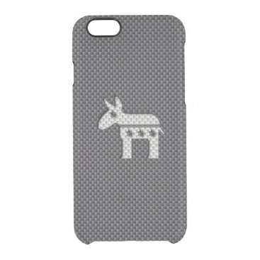 Beach Themed Carbon Fiber Donkey Democratic Party Symbol Clear iPhone 6/6S Case