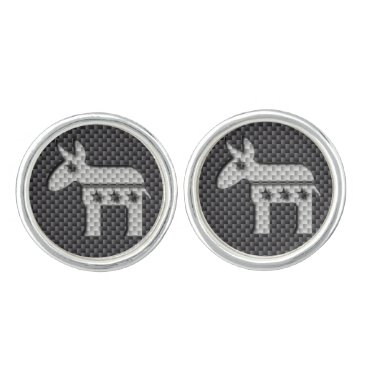 Beach Themed Carbon Fiber Donkey Democratic Party Symbol Cufflinks