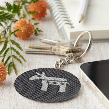 Beach Themed Carbon Fiber Donkey Democratic Party Symbol Keychain
