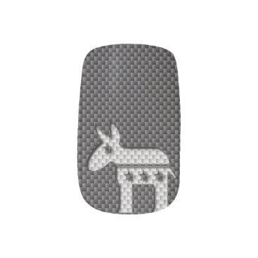 Beach Themed Carbon Fiber Donkey Democratic Party Symbol Minx® Nail Wraps