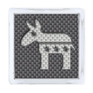 Halloween Themed Carbon Fiber Donkey Democratic Party Symbol Silver Finish Lapel Pin