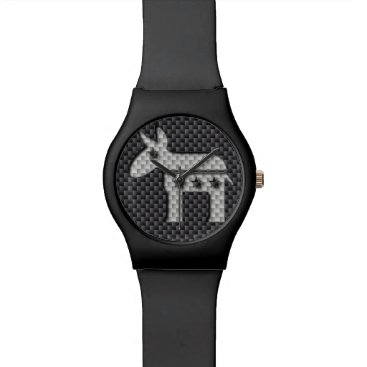 Beach Themed Carbon Fiber Donkey Democratic Party Symbol Watches