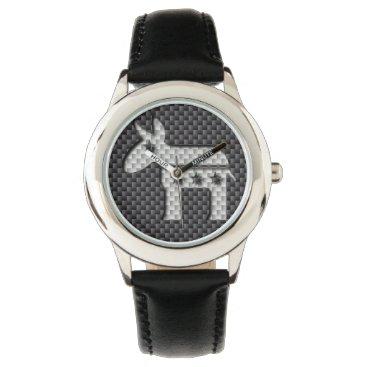 Beach Themed Carbon Fiber Donkey Democratic Party Symbol Wrist Watch