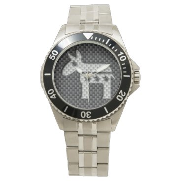 Beach Themed Carbon Fiber Donkey Democratic Party Symbol Wrist Watches