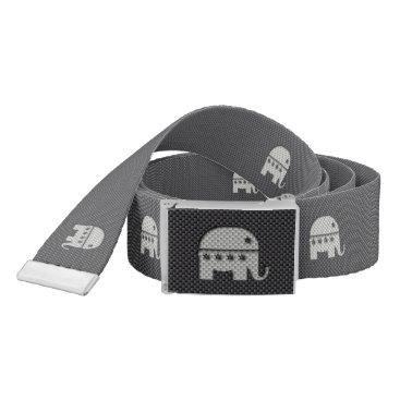 Beach Themed Carbon Fiber Elephant Republican Party Symbol Belt