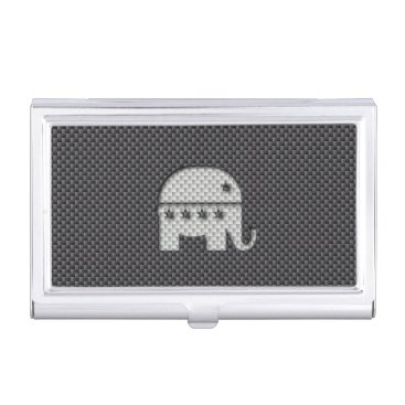 Beach Themed Carbon Fiber Elephant Republican Party Symbol Business Card Holder