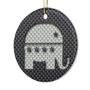 Beach Themed Carbon Fiber Elephant Republican Party Symbol Ceramic Ornament