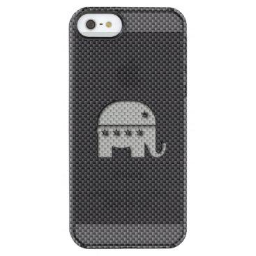 Beach Themed Carbon Fiber Elephant Republican Party Symbol Clear iPhone SE/5/5s Case
