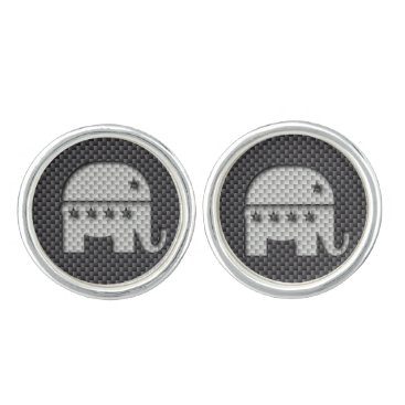 Beach Themed Carbon Fiber Elephant Republican Party Symbol Cufflinks