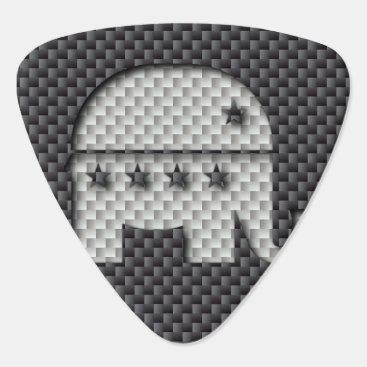 Beach Themed Carbon Fiber Elephant Republican Party Symbol Guitar Pick