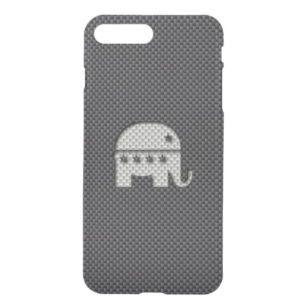Carbon Fiber Elephant Republican Party Symbol iPhone 7 Plus Case