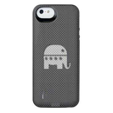 Beach Themed Carbon Fiber Elephant Republican Party Symbol iPhone SE/5/5s Battery Case