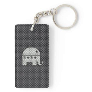 Beach Themed Carbon Fiber Elephant Republican Party Symbol Keychain