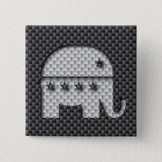 Carbon Fiber Elephant Republican Party Symbol Pinback Button