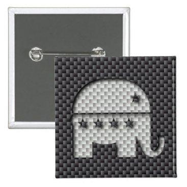Beach Themed Carbon Fiber Elephant Republican Party Symbol Pinback Button