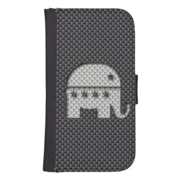 Beach Themed Carbon Fiber Elephant Republican Party Symbol Samsung S4 Wallet Case