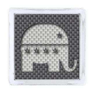 Carbon Fiber Elephant Republican Party Symbol Silver Finish Lapel Pin