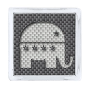 Halloween Themed Carbon Fiber Elephant Republican Party Symbol Silver Finish Lapel Pin
