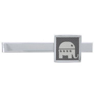 Beach Themed Carbon Fiber Elephant Republican Party Symbol Silver Finish Tie Clip